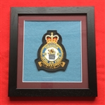 RAF 101 SQN Embroidered Crest in Black Wood Frame
