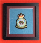 RAF 27 SQN Embroidered Crest in Black Wood Frame