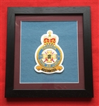 RAF 111 SQN Embroidered Crest in Black Wood Frame