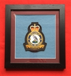 RAF 120 SQN Embroidered Crest in Black Wood Frame