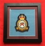 RAF 207 Bomber  SQN  Embroidered Official Crest in Black Wood Frame