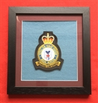 RAF Brize Norton  Embroidered Crest in Black Wood Frame