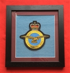 Royal Air Force Embroidered Crest in Black Wood Frame