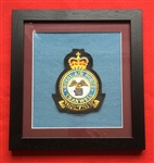 RAF Cranwell Station Embroidered Crest in Black Wood Frame