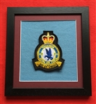 RAF 201 SQN Crest in Black Wood Frame