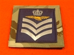 Royal Air Force Flight Sergeant Aircrew MTP UBAC'S Patch Velcro Backed ( RAF Flt SGT Aircrew Multicam UBAC'S Multi Terrane Pattern Rank Badge )