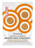Clearspring Organic Japanese Brown Rice Crackers Whole Sesame 40g