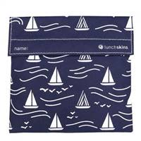 LunchSkins Reusable Velcro Sandwich Bag Navy Boat