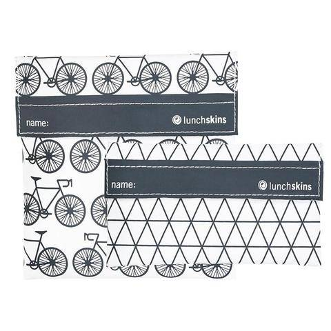 LunchSkins Reusable Velcro 2 Pack Bag Set Charcoal Bicycle