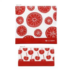 LunchSkins Reusable Velcro 2 Pack Bag Set Red Fruit