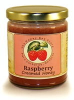 Flavoured honey with real raspberries