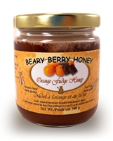 Creamed honey mixed with natural cocoa and oranges
