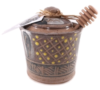 Ceramic Honey Pot - Blue with green dots