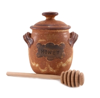 Ceramic Honey Pot Earthen Vessels, Holds approx. 500 g / 18 oz of honey.