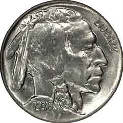 1936-P Buffalo Head Nickel Coins