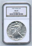 1987 American Silver Eagle NGC MS69