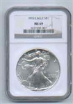 1993 American Silver Eagle NGC MS69