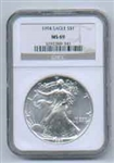 1994 American Silver Eagle NGC MS69