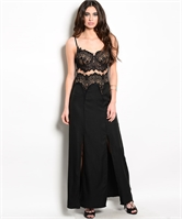 Lace Long Dress W/ Spaghetti Straps MJD1364