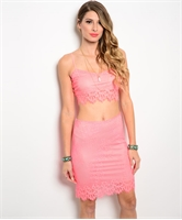 Two Piece Top And Skirt Set W/ Spaghetti Strap Crop SET1487