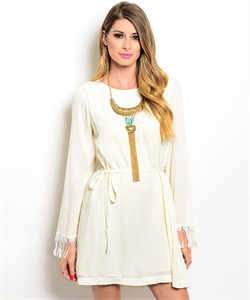 Woven Cream Dress W/ Long Sleeves D8286