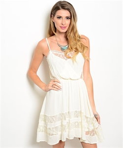 Spaghetti Strap Dress W/ Lace Insert On Neckline T15720