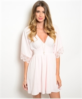 Lightweight Woven Light Pink Dress W/ Plunging Neckline D2021
