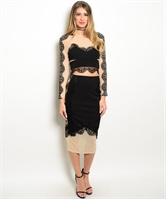 Two Piece Top And Skirt Set W/ Sheer Lace Crop SET1443