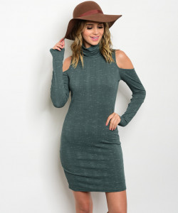 C56-A-4-D2946N36 FOREST GREEN COLD SHOULDER DRESS 2-2-2