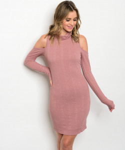 C21-A-1-D2946N36 MAUVE COLD SHOULDER DRESS 1-2-2