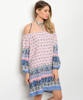 C78-A-4-D7132 NAVY IVORY BURGANDY PINK OFF SHOULDER DRESS 2-2-2