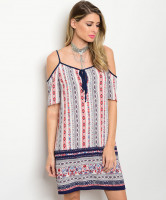 C77-A-4-D7128 CORAL IVORY NAVY COLD SHOULDER DRESS 2-2-2