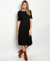 C82-A-1-D2953TS BLACK RIBBED DRESS 1-2-2