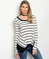 C5-B-7-T1192MEI WHITE BLACK SLUB KNIT STRIPE TOP 2-2-2