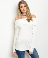 C68-B-1-T2355 OFF WHITE OFF SHOULDER RIBBED TOP 1-2