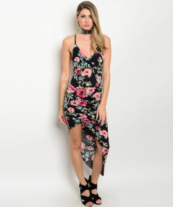 C43-A-1-D9888 BLACK WITH FLOWER DRESS 2-1-1