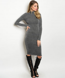 C91-A-3-D24778 CHARCOAL MOCK NECK DRESS 2-2-2