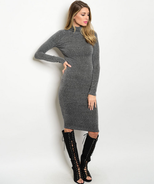 C88-A-1-D24778 CHARCOAL MOCK NECK DRESS 2-2
