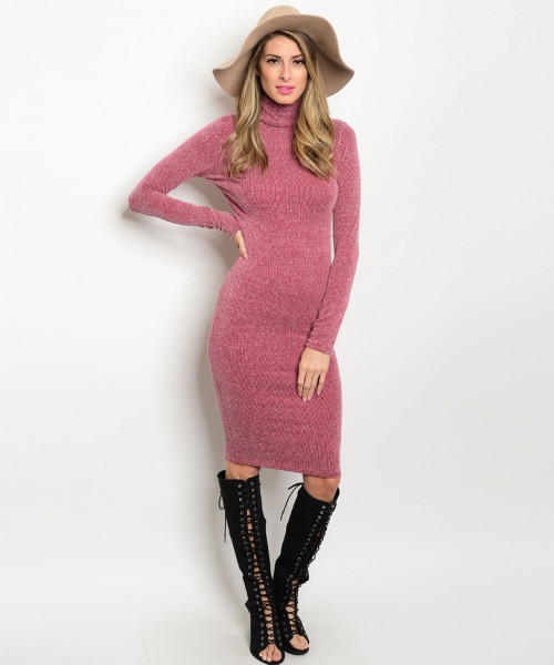 C89-A-6-D24778 LIGHT WINE MOCK NECK DRESS 2-2-2