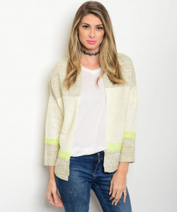 S10-9-2-NA-C13262 NATURAL TAUPE LIME KNIT SWEATER CARDIGAN 2-2-2