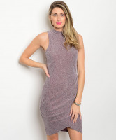 C81-A-6-D3079 WHITE WINE MOCK NECK RIBBED DRESS 2-2-2