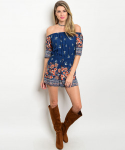 C78-A-4-R43262 NAVY ORANGE FLOWER OFF SHOULDER ROMPER 2-2-2