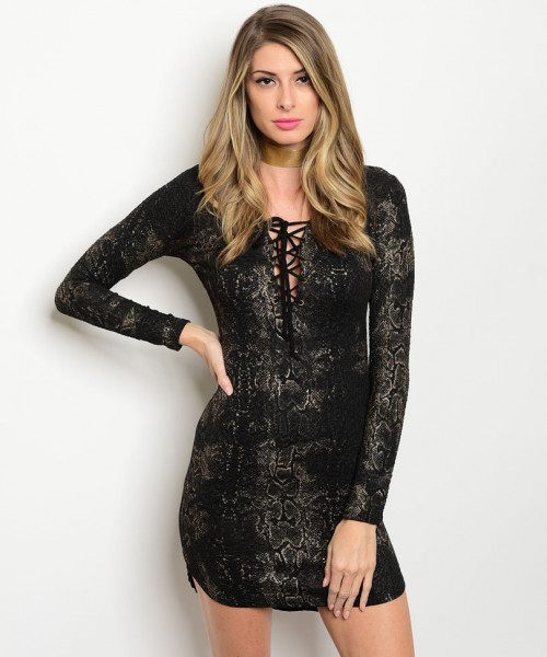 C70-A-1-D3202 BLACK TAUPE LACE UP DRESS 1-3-2