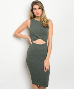 C61-A-3-D26602 DARK OLIVE CUT OUT RIBBED DRESS 2-2-2