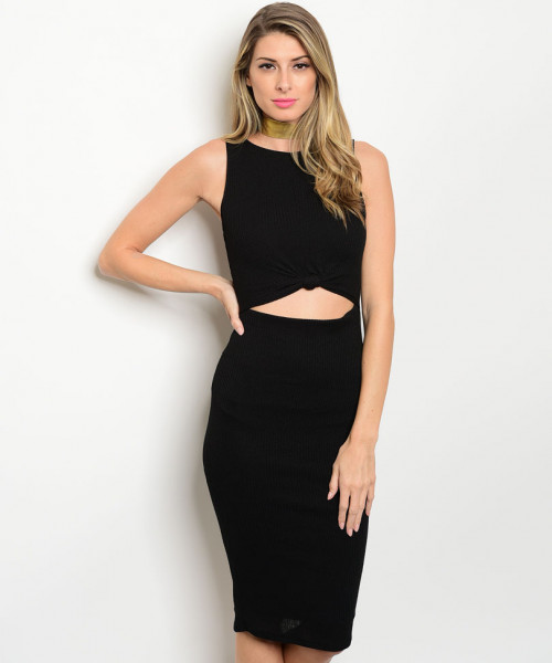C62-A-1-D26602 BLACK CUT OUT RIBBED DRESS 2-2