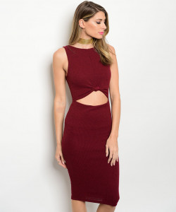 C55-A3-D26602 WINE CUT OUT RIBBED DRESS 2-2-2