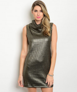 C56-A-1-D3241 GOLD BLACK METALLIC MOCK NECK DRESS 1-3