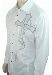 men Cross Chain white dress shirt