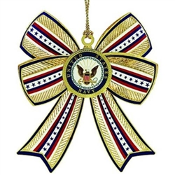 Navy 3D Bow Ornament