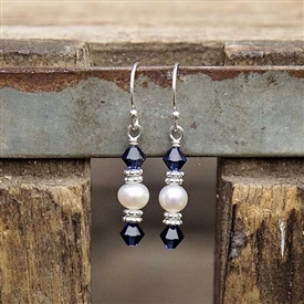Double Crystal and Pearl Earrings